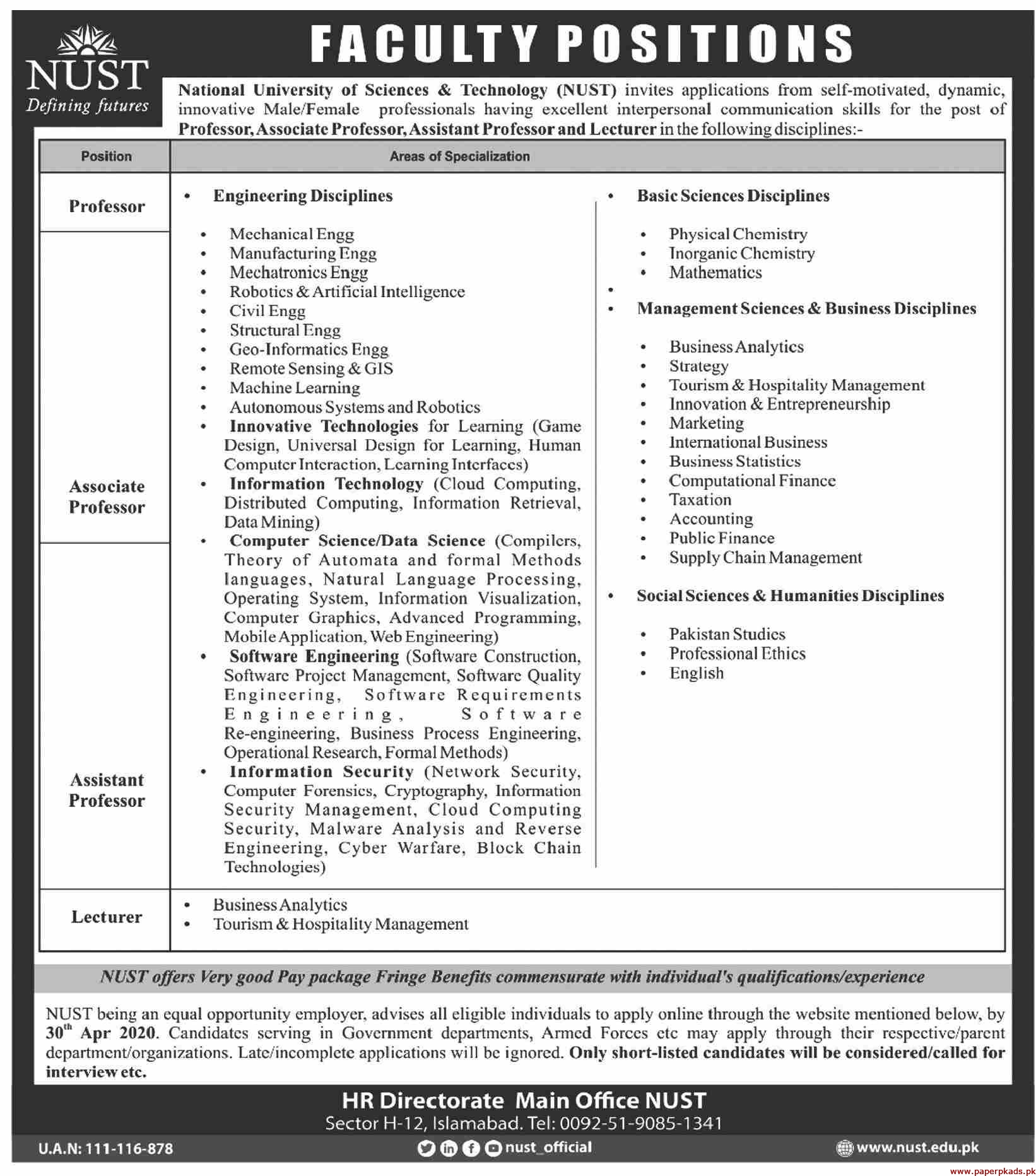 National University of Science & Technology Jobs 2020 Latest