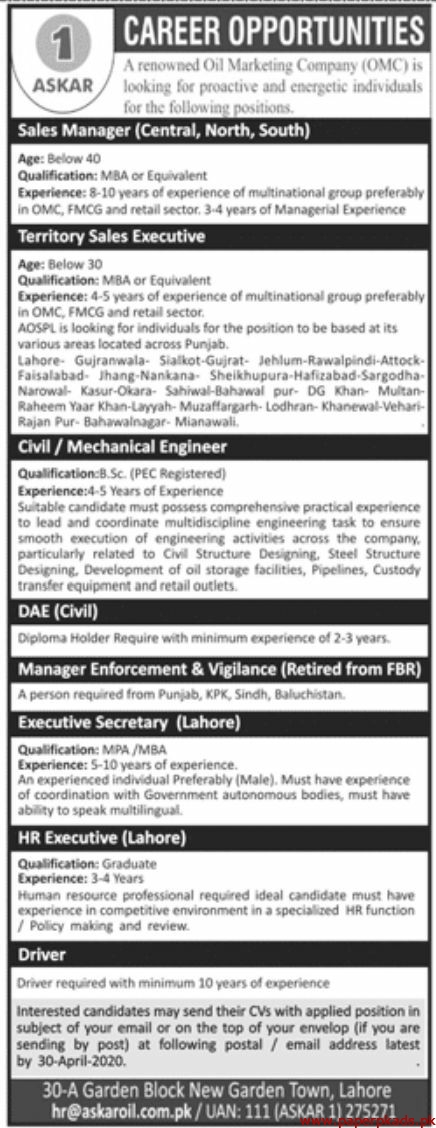Oil Marketing Company OMC Jobs 2020 Latest