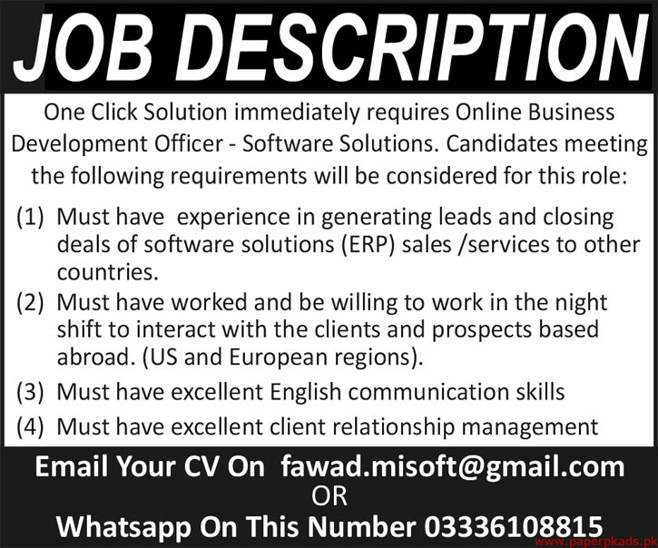 One Click Solution Jobs 2020 Latest