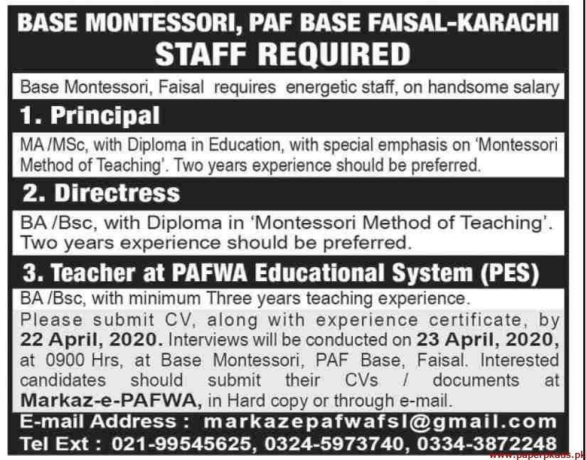 PAF Base Faisal Karachi Jobs 2020 Latest