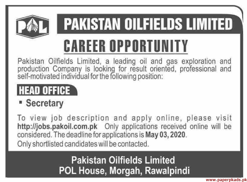 Pakistan Oilfields Limited POL Jobs 2020 Latest