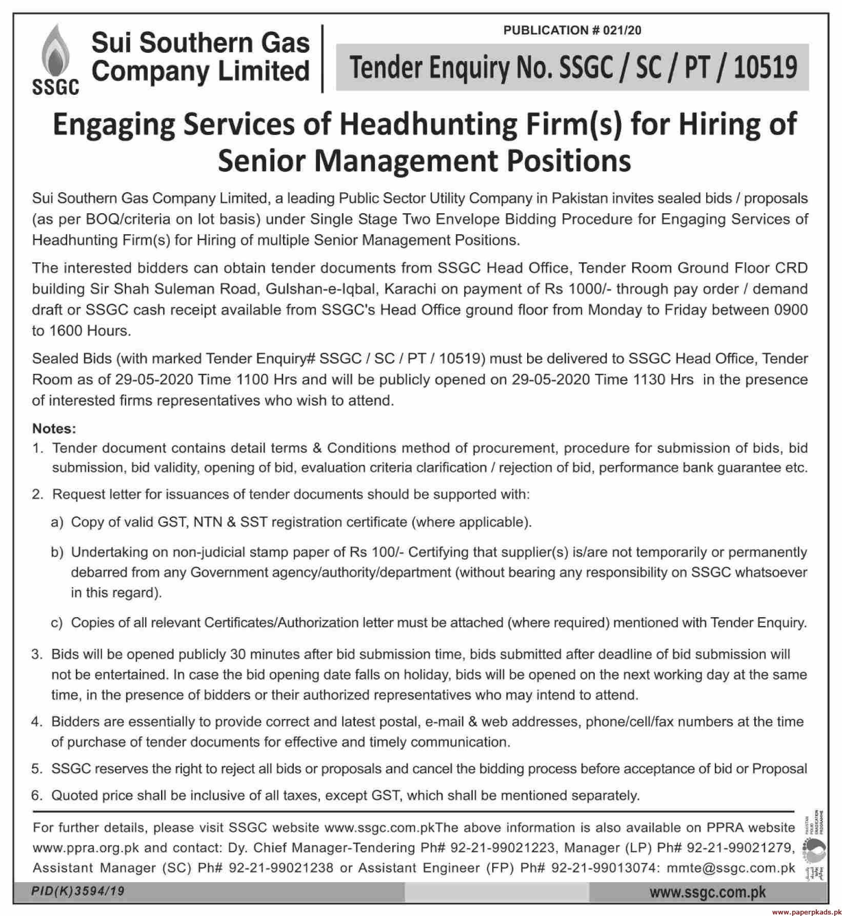 Sui Southern Gas Company Limited Jobs 2020 Latest