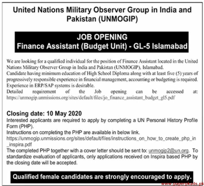 United Nations Military Observer Group in India and Pakistan Jobs 2020 Latest