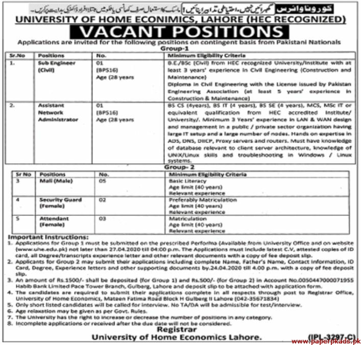 University of Home Economics Lahore Jobs 2020 Latest