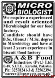 A&B Food Industries Pvt Ltd Jobs 2020 Latest