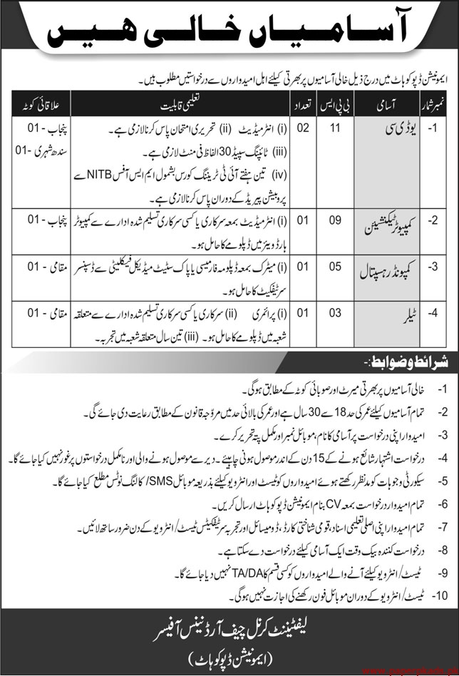 Ammunition Depot Kohat Jobs May 2020
