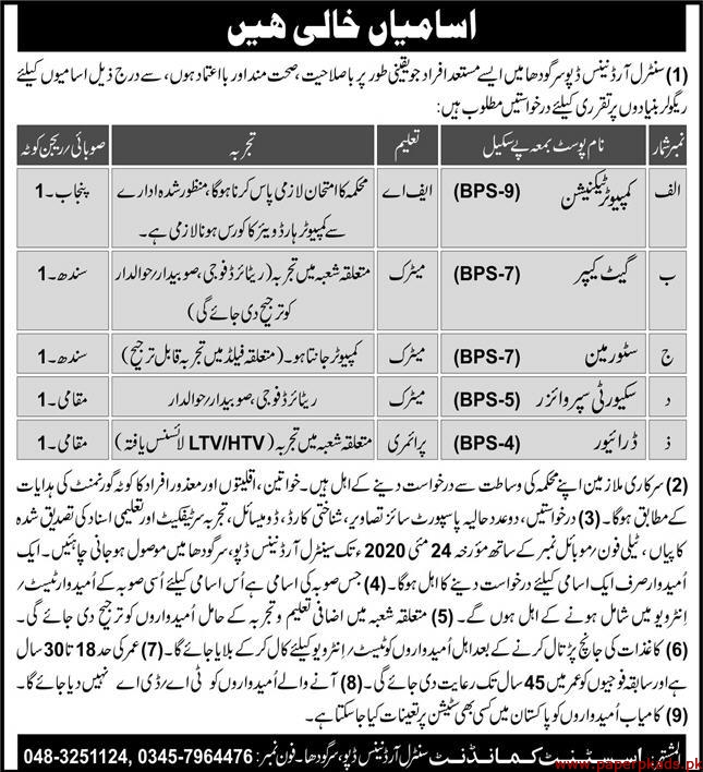Central Ordinance Depot Sargodha Jobs May 2020