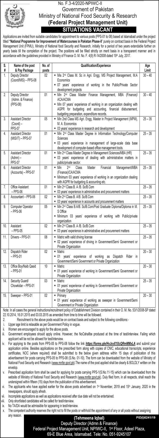 Government of Pakistan Ministry of National Food Security & Research Jobs May 2020