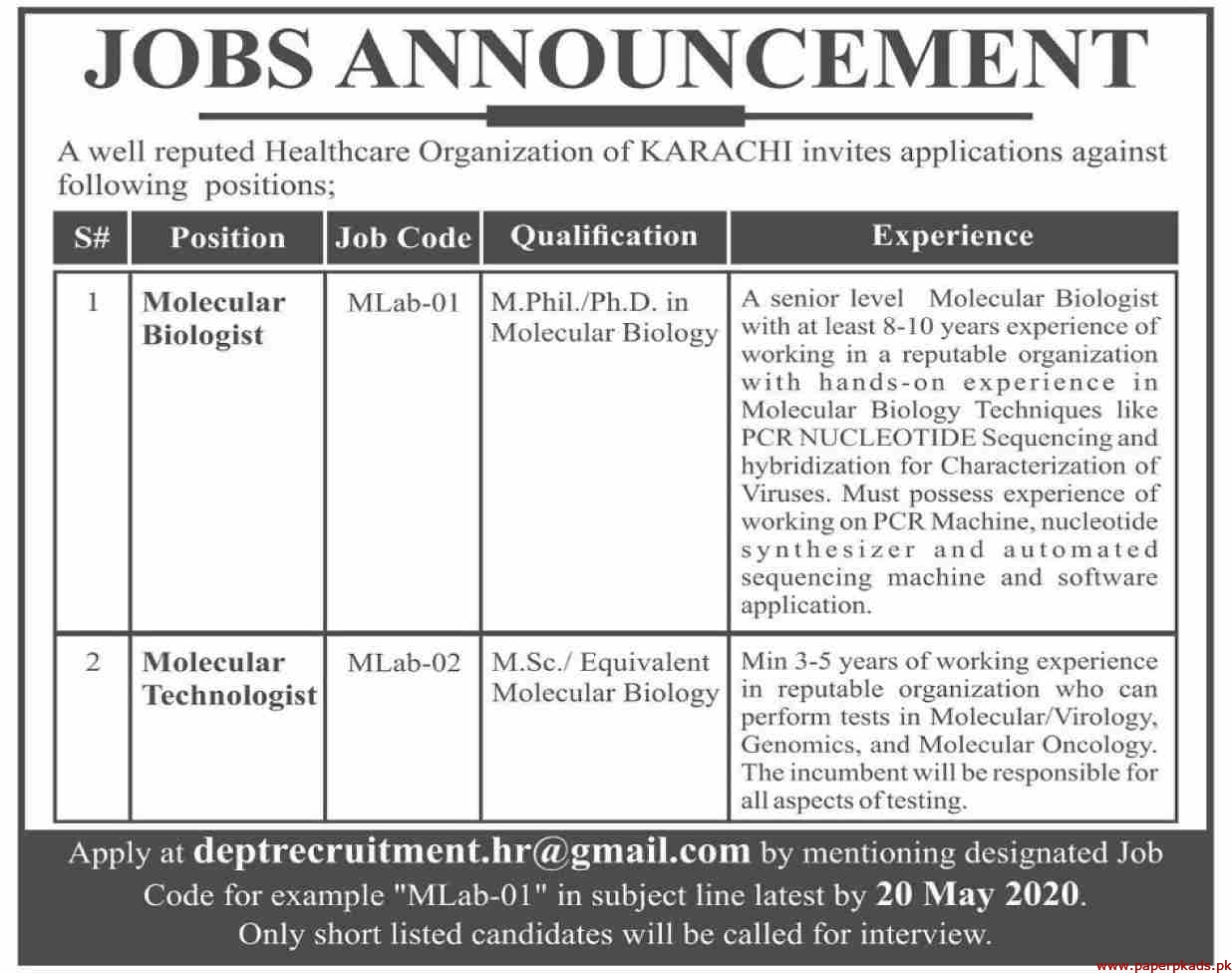 Healthcare Organization Jobs 2020 Latest