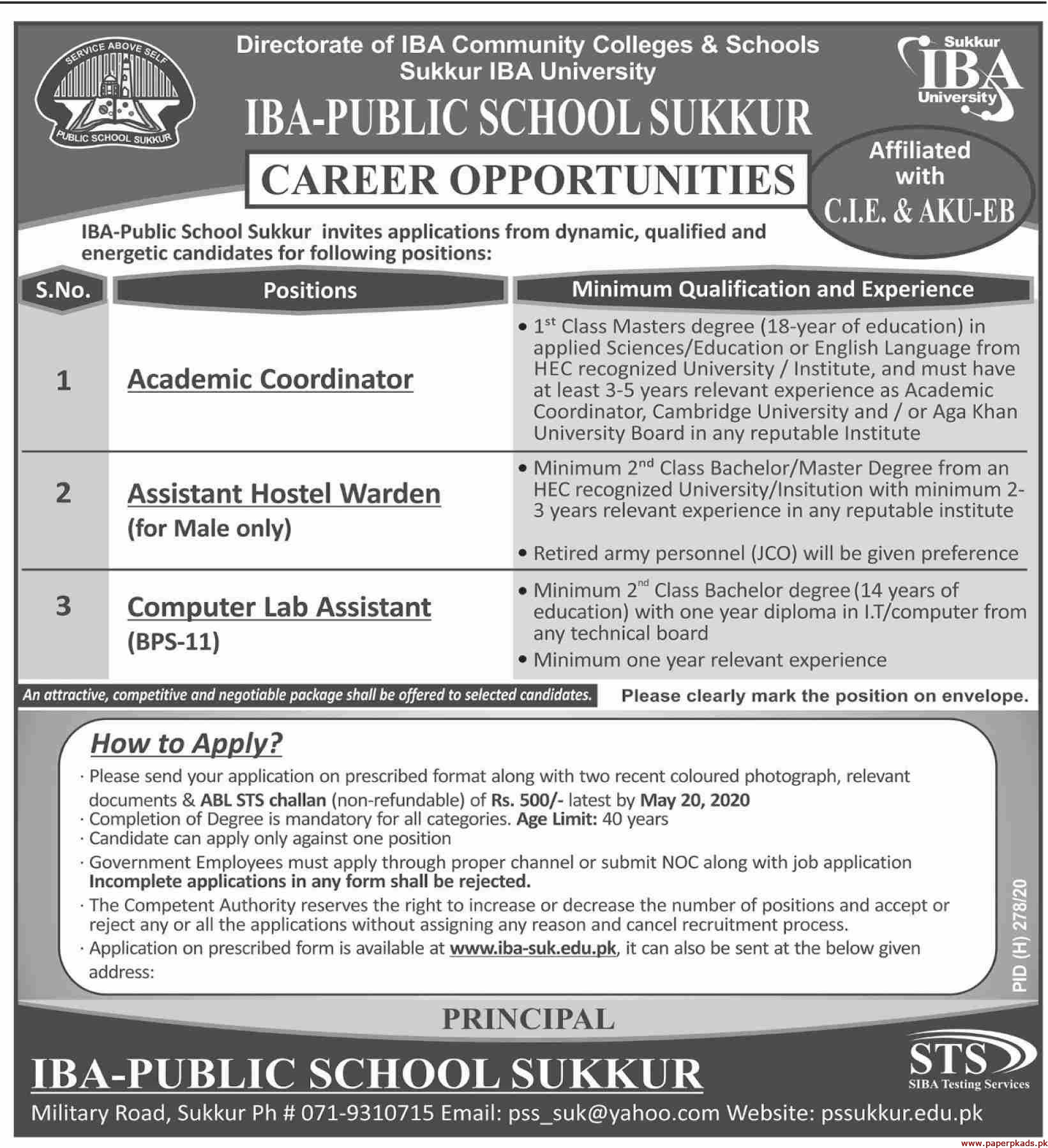 IBA Public School Jobs 2020 Latest