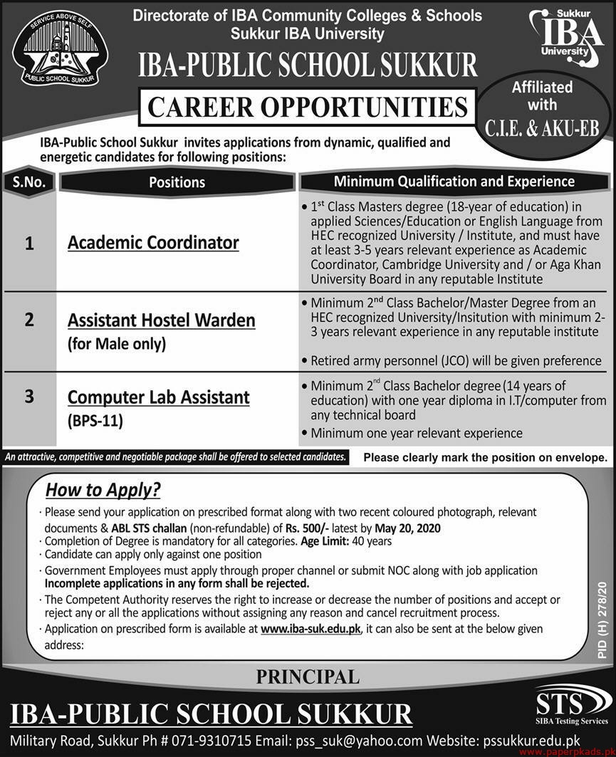 IBA Public School Sukkur Jobs 2020 Latest