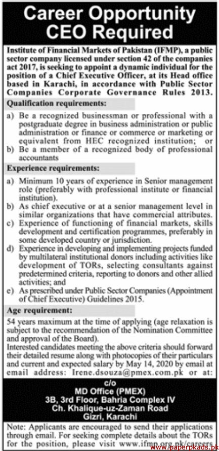 Institute of Financial Markets of Pakistan IFMP Jobs 2020 Latest