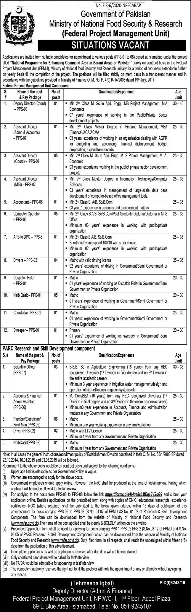 Ministry of National Food Security & Research Jobs May 2020