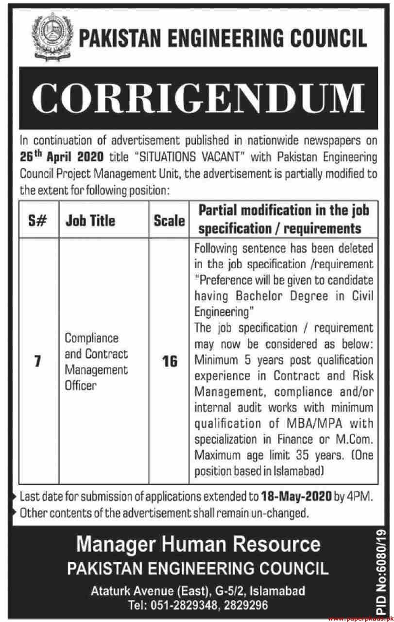 Pakistan Engineering Council Latest Jobs May 2020