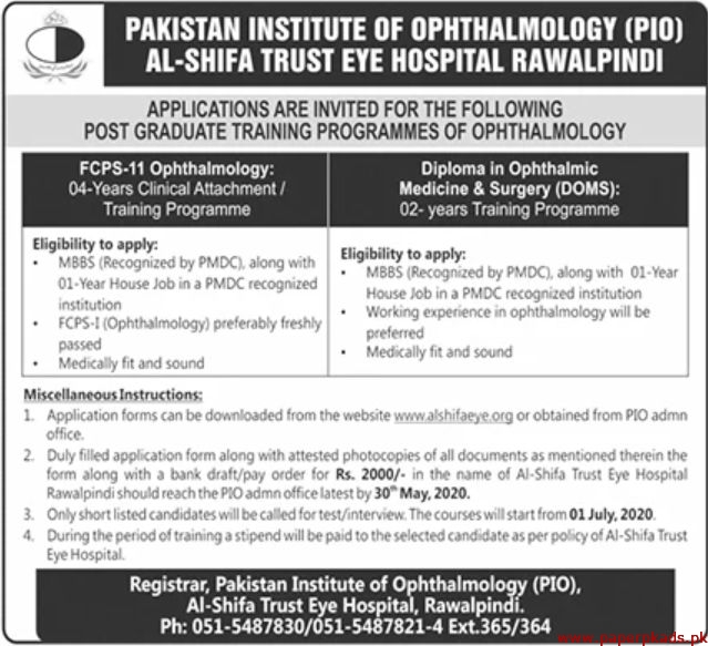 Pakistan Institute of Ophthalmology Jobs May 2020