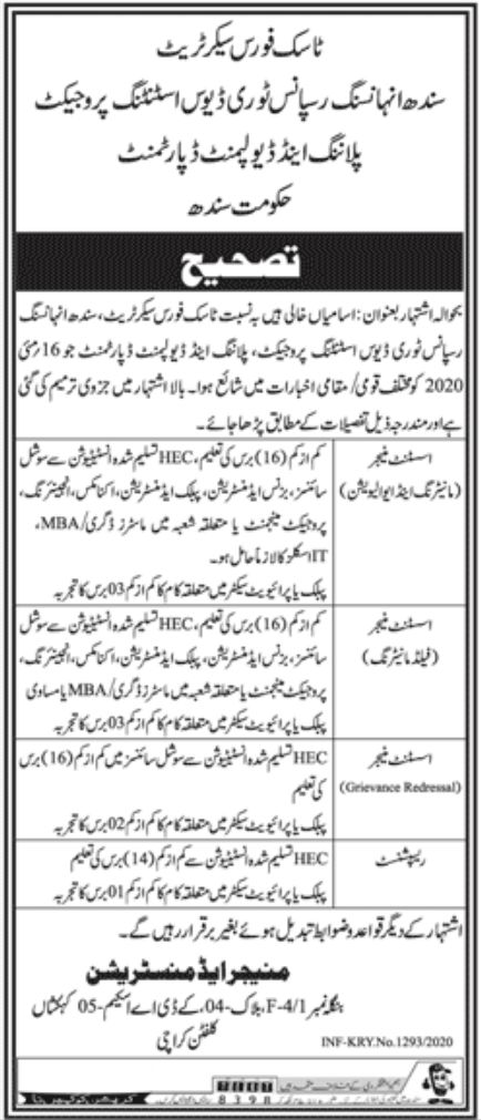 Planning & Development Department Government of Sindh Jobs May 2020
