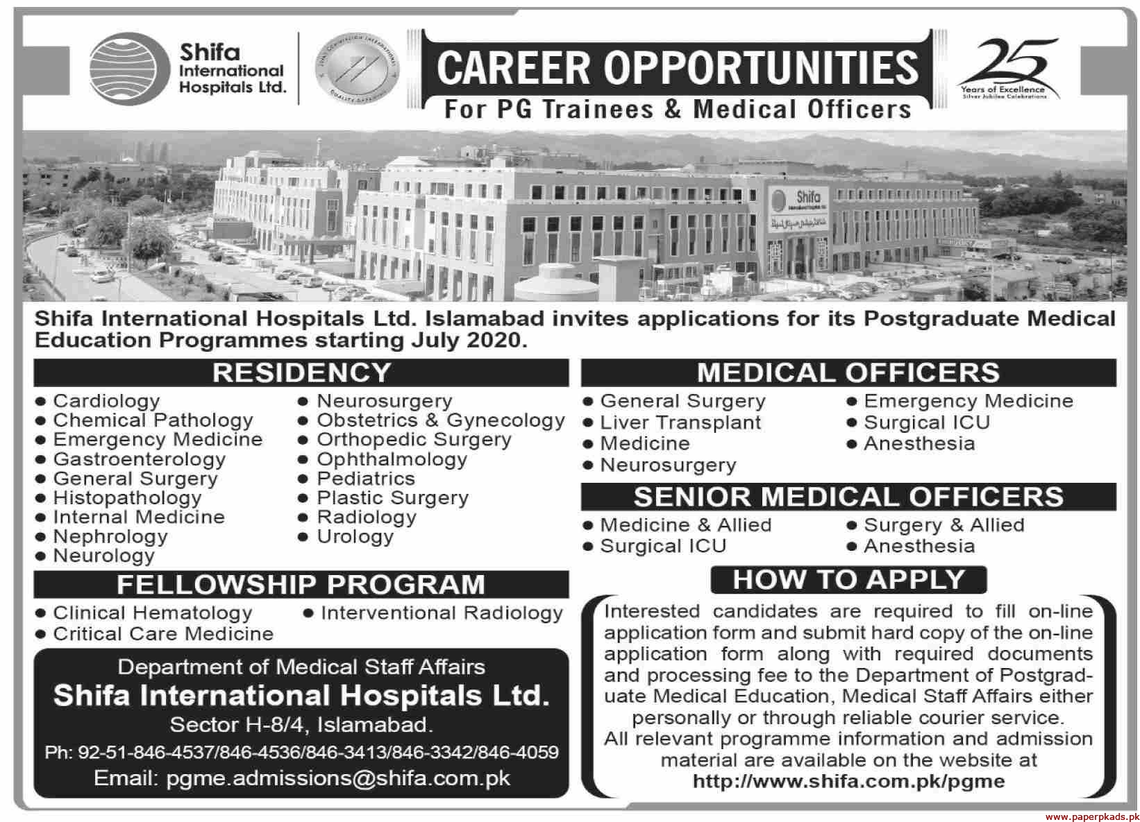 Shifa International Hospitals Ltd Jobs 2020 Latest