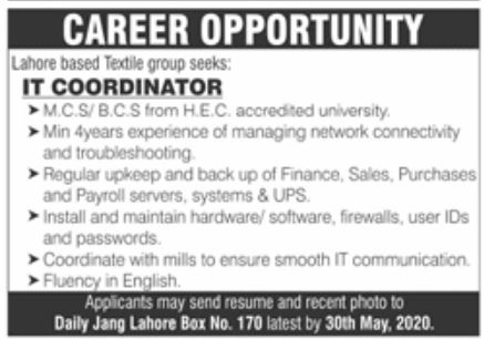 Textile Group Lahore Jobs May 2020