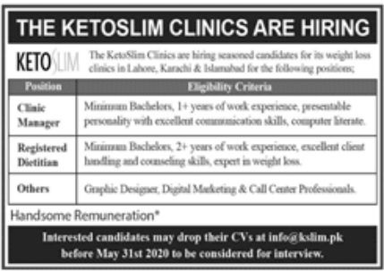 The Ketoslim Clinics Jobs May 2020