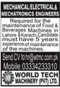World Tech Machinery Pvt Ltd Jobs May 2020