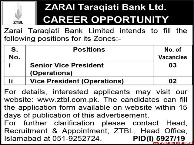 ZTBL Jobs 2020 Latest