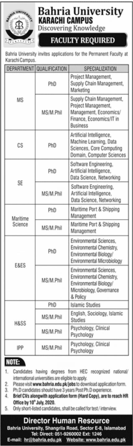 Bahria University Karachi Jobs June 2020