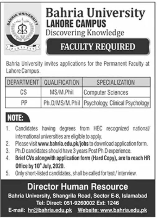 Bahria University Lahore Jobs June 2020