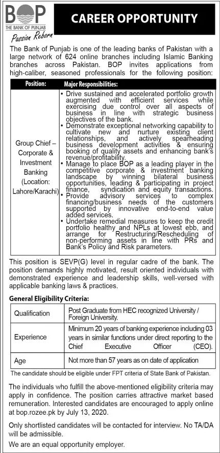 Bank of Punjab BOP Jobs June 2020