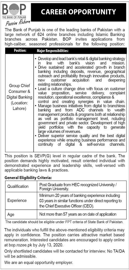 Bank of Punjab Jobs June 2020