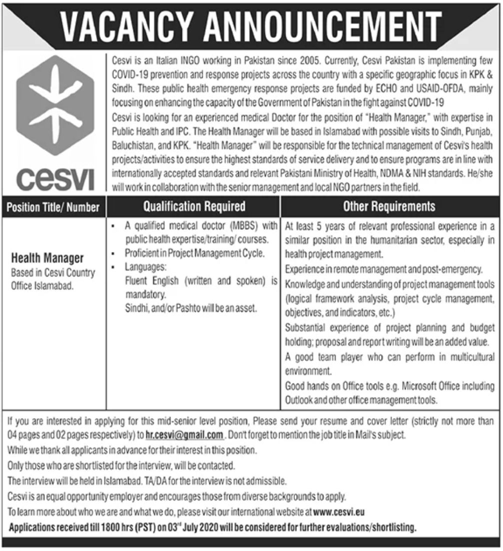 CESVI Company Jobs June 2020