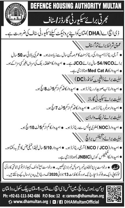 Defence Housing Authority Multan Jobs June 2020