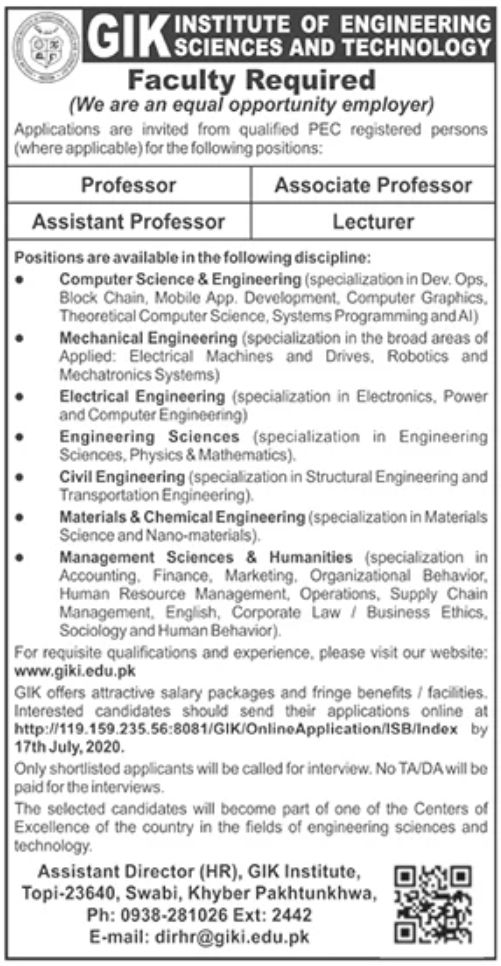 GIK Institute of Engineering Sciences and Technology Jobs June 2020