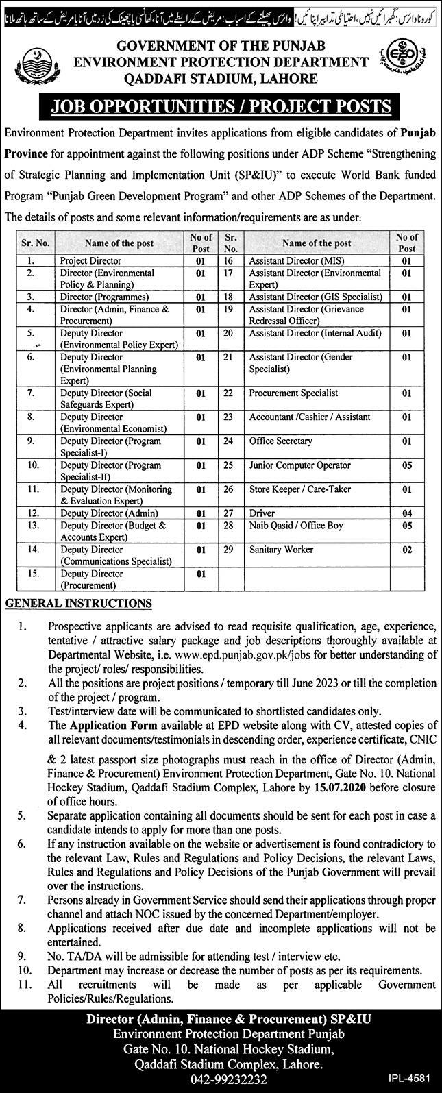 Government of the Punjab Environment Protection Department Jobs June 2020
