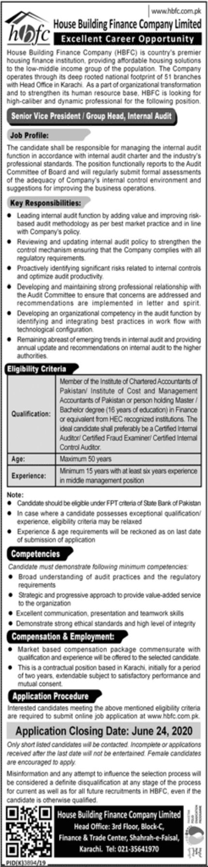 House Building Finance Company Limited HBFC Jobs June 2020