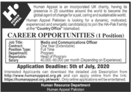 Human Appeal Jobs June 2020