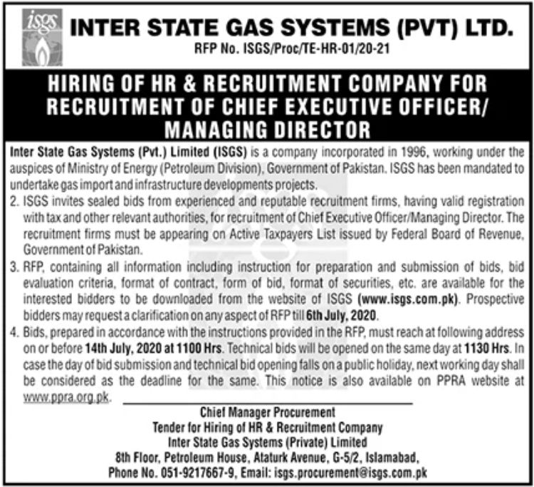Inter State Gas Systems Pvt Ltd Jobs June 2020