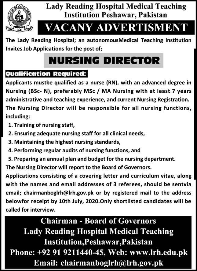 Lady Reading Hospital Medical Teaching Institution Peshawar Jobs June 2020
