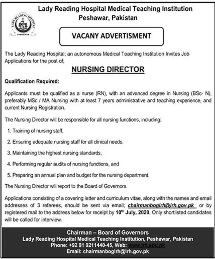 Lady Reading Hospital Medical Teaching Institution Peshawar Pakistan Jobs June 2020