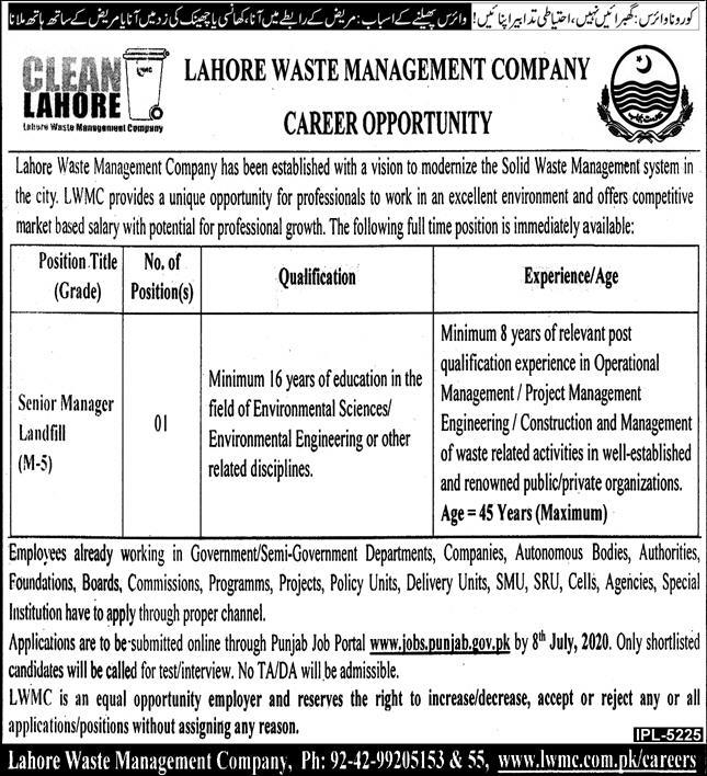 Lahore Waste Management Company LWMC Jobs June 2020