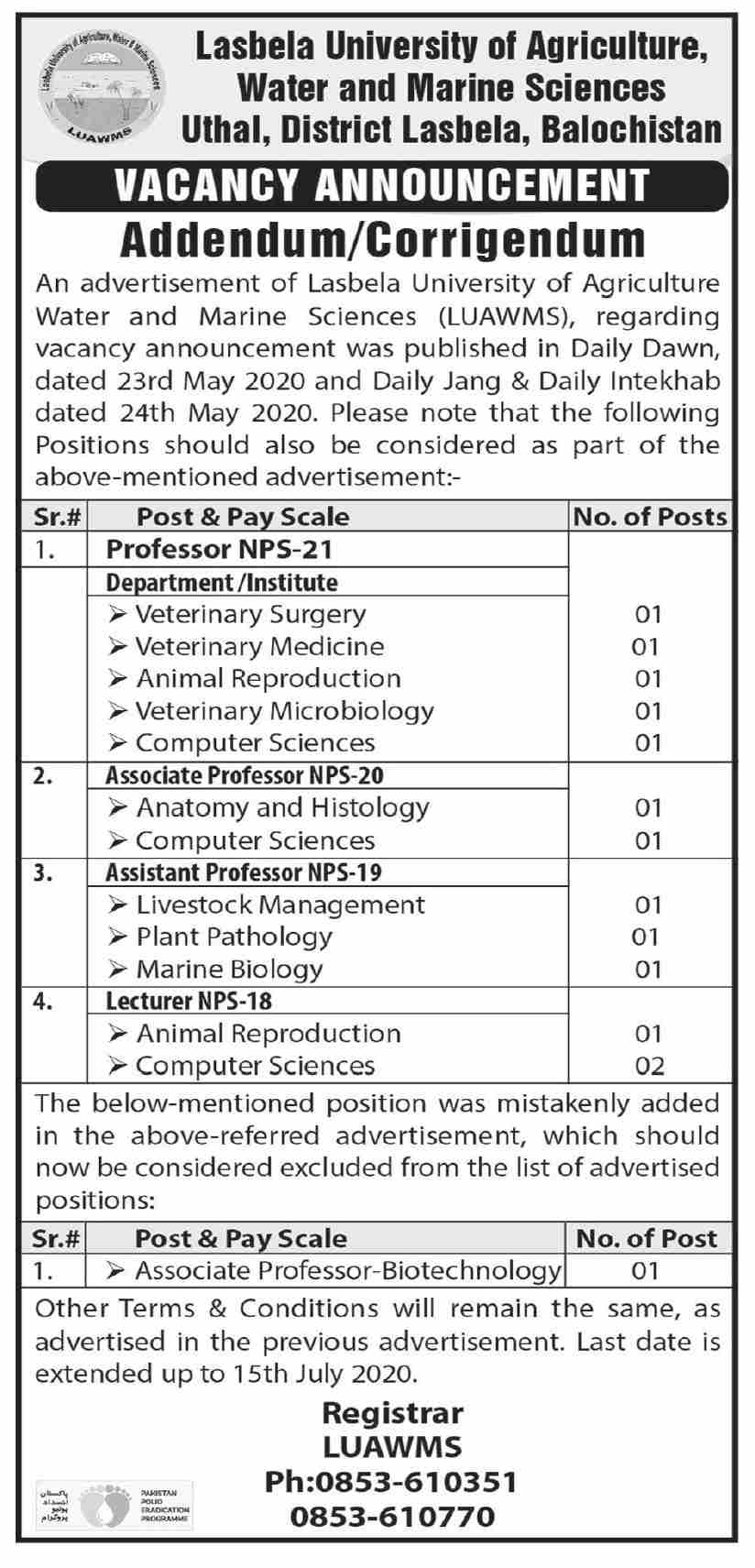 Lasbela University of Agriculture water and Marine Sciences Jobs June 2020