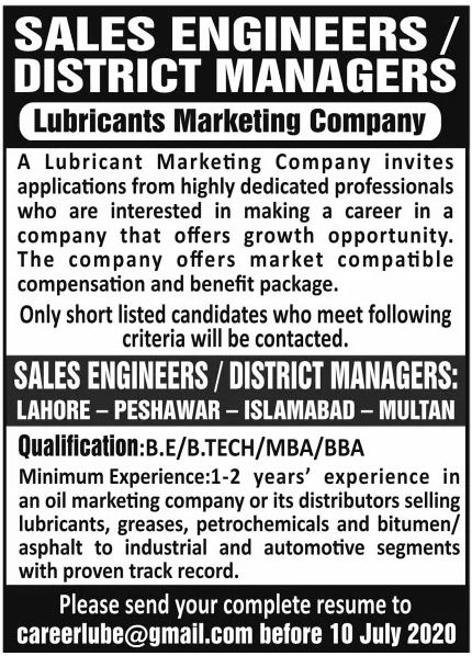 Lubricants Marketing Company Jobs June 2020