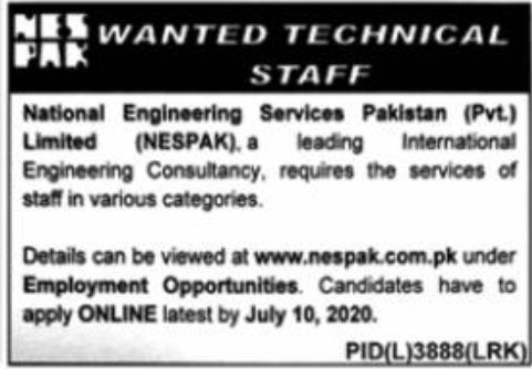 National Engineering Services Pakistan Pvt Limited NESPAK Jobs June 2020