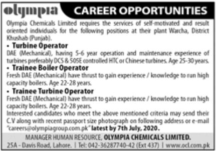 Olympia chemicals Limited Jobs June 2020