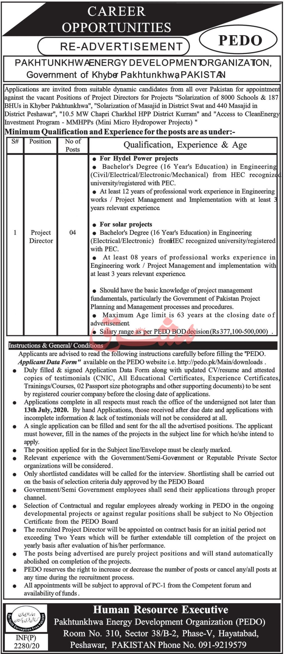 Pakhtunkhwa Energy Development Organization PEDO Jobs June 2020