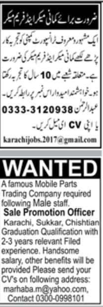 Paperpk Jang Newspaper Jobs 28 June 2020
