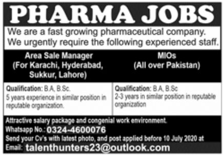 Pharmaceutical Company Jobs June 2020