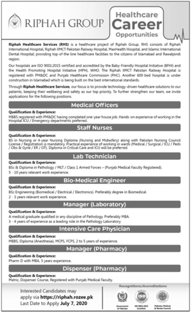 Riphah Healthcare Services RHS Jobs June 2020
