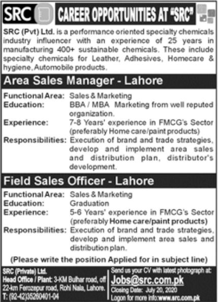 SRC Pvt Ltd Jobs June 2020