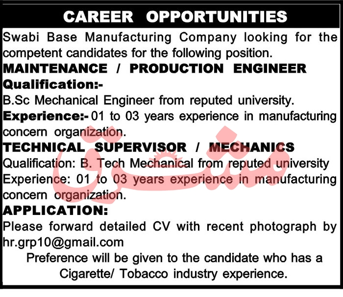 Swabi Base Manufacturing Company Jobs June 2020