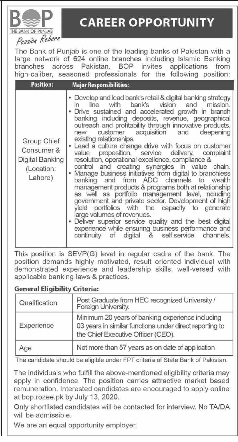 The Bank of Punjab BOP Jobs June 2020